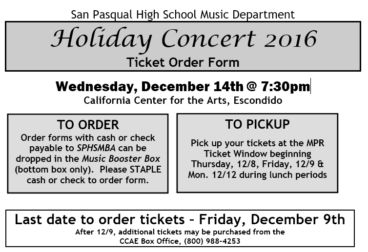 2016 HOLIDAY CONCERT - SPHS Music Programs